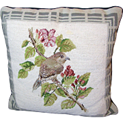 Delightful Wool Needlepoint & Petite Point Spring Bird Pillow