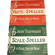 1947,Scale Speller Music Writing John Thompson Piano Beginner Lessons Book & 1946, Note Speller: A Music Writing Book Early Elementary Level by John Thompson