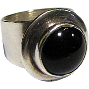 Bold Modernist Onyx & Sterling Ring, Size 6
