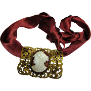 Large Victorian Glass Cameo Belt Buckle as a Necklace