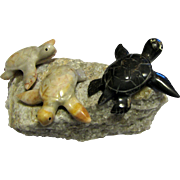 Adorable Carved Sculpture of Three Turtles on a Rock