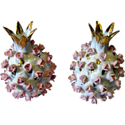 Gilt Pineapple Salt & Pepper Set w/h Applied Tiny Pink Roses