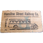 c. 1915, Hamiliton Street Railway Company Bus Ticket, Very Rare