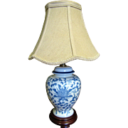 Pretty Small Blue & White Chinese Table Lamp with Beige Shade