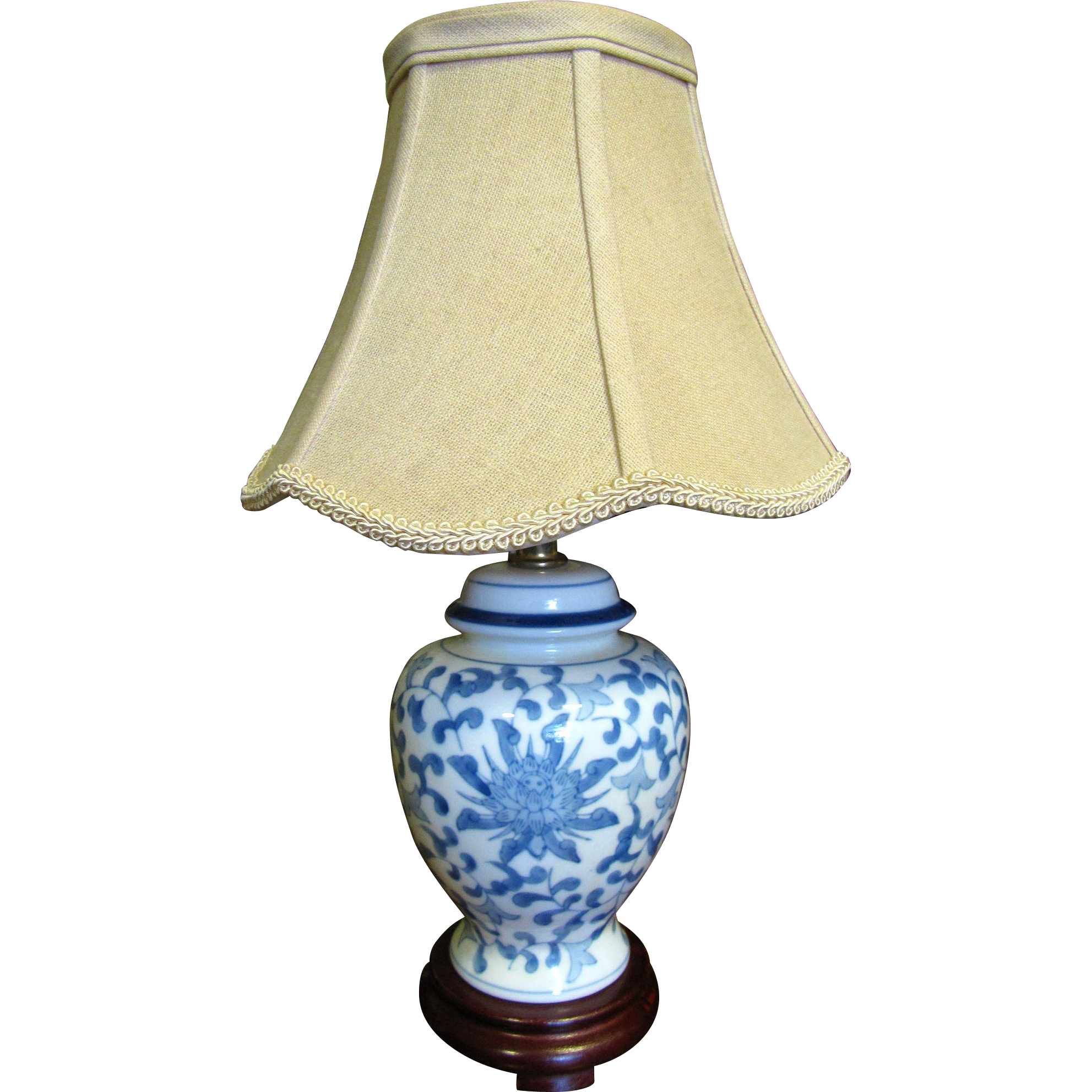 pretty small blue white chinese table lamp with beige shade from. Black Bedroom Furniture Sets. Home Design Ideas