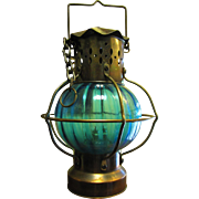 Vintage Copper Tone Hanging Oil Lantern w/ Turquoise Glass Shade