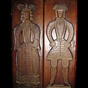 "Pair of 24"" Elizabethan Revival Vintage Wooden Figural Plaques"