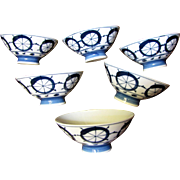 6 Vintage Blue & White Japanese Porcelain Rice Bowls