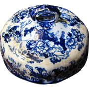 Orphaned Antique Flow Blue Butter Dish Lid w/ Issues