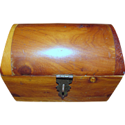 Darling Miniature Domed Cedar Chest, Perfect for Doll Display