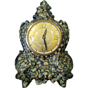 Huge & Cool 50's Mantle Clock, Quartz in Green Resin, Lanshire Electric Movement