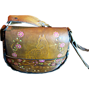 Horse Design 1970's Hand-Tooled & Painted Leather Shoulder Bag