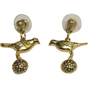 Darling Gold Tone Bird Drop Earrings