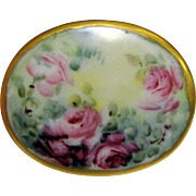 Large Hand Painted Porcelain Rose Brooch, Signed