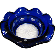 Cobalt Cut to Clear Candy Dish or Trinket Tray, Deep Overlay