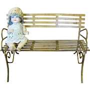 Darling French Miniature Gilt Iron Park Bench for Doll Display
