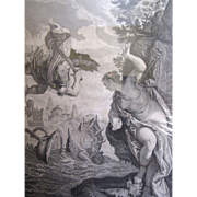 Circa 1750 Framed Engraving of Perseus & Andromeda by Louis Jacob after Veronese AND Circa 1750 Engraving of Susanne Au Bain