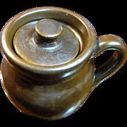 Beautiful Hand Made Pottery Lidded Salt or Jelly Pot