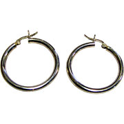 "Classic 1 3/8"" Vintage Sterling Silver Hoop Earrings"