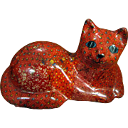 Large 1970's Glazed Calico Decoupage Chalkware Doorstop