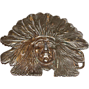 Vintage Brass Indian Chief Belt Buckle made by Bergamot Brass Works USA Designed by Sandy Val, 1971