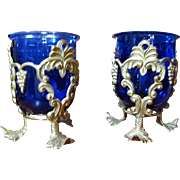 Opulent Pair of Brass and Cobalt Glass Votive Holders, by RIH of India