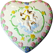 Darling Heart Shaped Trinket Box w/ Gilt Cherub Design