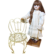 Delightful Painted Metal Garden Chair for Bisque Doll