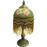 Vintage Victorian Style Beaded Fringe Boudoir Lamp w/ Reverse Painted Rose Glass Shade