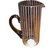 Mid Century Modern Clear Lg. Johansfors Blown Glass Pitcher w/ White Stripes, Designed by Bengt Orup of Sweden, Superb Scandinavian Art Glass