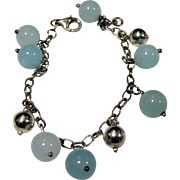 Summery Sterling & Chalcedony Ball Drop Bracelet