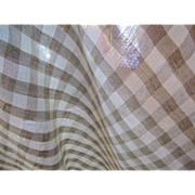 "Two 45"" Remnants of Checkered Mid Weight Pure Linen"
