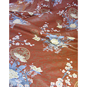 "86"" Remnant of Glazed Cotton Japanese Cherry Blossom Design Fabric"