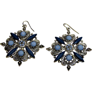 Large Silver-tone & Blue Bead Drop Earrings