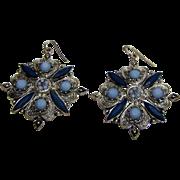 Large Silver-tone & Blue Bead Drop Earrings