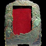 Art Nouveau Peacock Design Picture or Mirror Frame, Original Poly-Chrome Finish