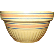 "Vintage 9 1/2"" Batter Mixing Bowl Blue/Pink Dbl.Band Stripe Yellow Ware Stoneware Pottery"