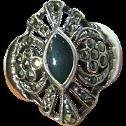 Vintage Art Deco Style Sterling, Chrysoprase, & Marcasite Ring Sz 8 1/4