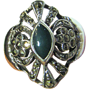Vintage Art Deco Style Sterling, Chrysoprase, & Marcasite Ring Sz 8.5