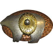 Vintage Native American Artisan 10k Gold, Sterling & Copper Bear Pin
