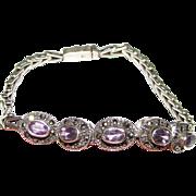 Vintage Sterling Silver, Amethyst & Marcasite Bracelet