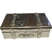 Miniature Silver Plated Trunk w/ Red Velour Lining, Perfect for Doll Display