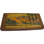 Vintage 1940's Ayers & Held Redwood Fruit Box w/ Merced California Landscape Graphics