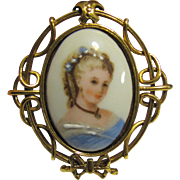 Edgar Berebi French Limoges Portrait Pin, Lady in Blue