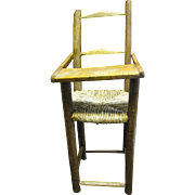 Darling Hand Made Hardwood Doll Highchair with Rush Seat