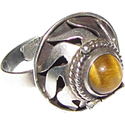 Signed Mexican Sterling & Tigers Eye Poison Ring, Adjustable Shank