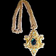 Huge Renaissance Revival Brooch Pendant Necklace by ART