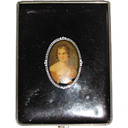 Circa 1940's Ladies Portrait Cigarette Case in Vinyl & Chrome