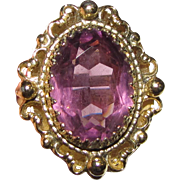 Opulent Whiting & Davis Amethyst Crystal & Goldtone Ring Size 8