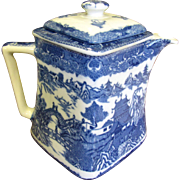Vintage Rington's Blue Willow Teapot, Unusual Offset Design